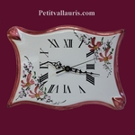 FAIENCE WALL CLOCK PARCHMENT MODEL PINK FLOWERS PAINT