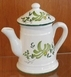MINIATURE COFFEE POT GREEN FLOWER DECORATION