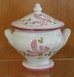 MINIATURE SOUP TUREEN PINK FLOWER DECORATION