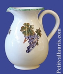 WATER JUG 1 LITER APPROXIMATELY GRAPE DECORATION