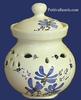 CERAMIC GARLIC POT BLUE FLOWERS COLOR