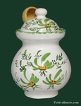 OLIVES POT WITH GREEN FLOWERS DECORATION