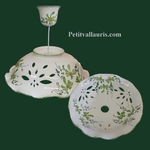 CERAMIC SUSPENSION GREEN FLOWERS DECORATION DIAMETER 33 CM
