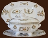 OVAL SOUP TUREEN WITH DISH OLD MOUSTIERS DECORATION