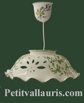CERAMIC SUSPENSION DECOR GREEN FLOWERS DIAMETER 37 CM