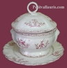 SMALL SIZE SOUP TUREEN WITH HIS PLATE PINK DECOR