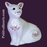 CHAT CERAMIQUE MODELE MISTIGRI DECOR TRADITION MOUSTIER ROSE