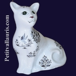 CHAT CERAMIQUE MODELE MISTIGRI DECOR TRADITION MOUSTIER BLEU