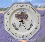 FAIENCE MURAL CLOCK  MOULIN AND LAVENDER DECORATION