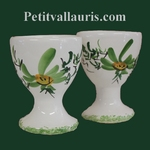 INDIVIDUAL EGG CUP GREEN FLOWERS DECOR