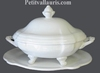 OVAL SOUP TUREEN  WITH DISH WHITE COLOR ENAMELLED