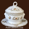 SMALL SIZE SOUP TUREEN WITH HIS PLATE POLYCHROME DECOR