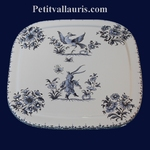 DESSOUS DE PLAT FORME CARRE DECOR TRADITION MOUSTIERS BLEU