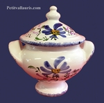 MINIATURE SOUP TUREEN BLUE FLOWER DECORATION