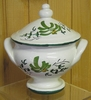 MINIATURE SOUP TUREEN GREEN FLOWER DECORATION