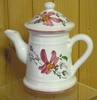 MINIATURE COFFEE POT PINK FLOWER DECORATION
