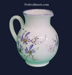 WATER JUG 1 LITER APPROXIMATELY BLUE FLOWER DECOR