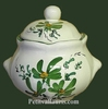 SUGAR BOWL STYLE MODEL GREEN FLOWERS DECOR
