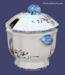 EARTENWARE SUGAR JAMJAR BLUE FLOWERS DECORATION