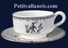 LARGE CUP WITH UNDER PLATE OLD MOUSTIERS BLUE DECORATION
