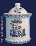 POT DE CHEMINEE ROND TAILLE 1 DECOR TRADITION MOUSTIERS BLEU