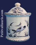 POT DE CHEMINEE ROND TAILLE 2 DECOR TRADITION MOUSTIERS BLEU