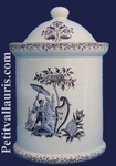 POT DE CHEMINEE ROND TAILLE 4 DECOR TRADITION MOUSTIERS BLEU