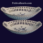 FAIENCE OVAL LACE OLD TRADITION DECORATION BLUE MOUSTIERS