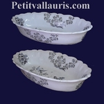 FAIENCE OVAL PANNIER  MOUSTIERS DECORATION BLUE