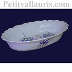 CORBEILLE OVALE A PAIN OU A FRUITS DECOR FLEURS BLEUES