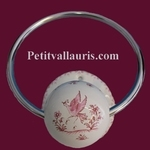 WALL TOWEL HOLDER PINK MOUSTIERS TRADITION DECOR(METAL RING)