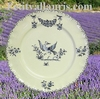 PLATE LOUIS XV MODEL MOUSTIERS BLUE DECO 21,5 CM DIAMETER