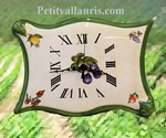 FAIENCE WALL CLOCK PARCHMENT MODEL FRUITS PAINT YELLOW COLOR