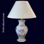 LAMPE FAIENCE HEXAGONALE DECOR TRADITION VIEUX MOUSTIER BLEU