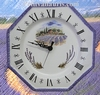 FAIENCE OCTAGONAL WALL CLOCK LAVENDERS FIELD DECORATION (CR)