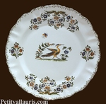 PLATE LOUIS XV MODEL WITH OLD MOUSTIERS DECORATION