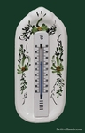 THERMOMETER WITH MURAL SUPPORT GREEN FLOWERS DECOR