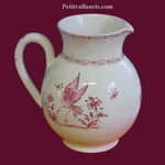 WATER JUG 1 LITER APPROXIMATELY PINK OLD MOUSTIERS DECOR
