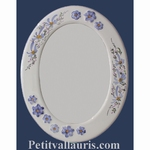 OVAL MIRROR BLUE FLOWERS DECOR AND RELIEF MARGUERITE