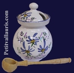 OLIVES POT WITH BLUE FLOWERS DECORATION