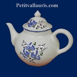 TEAPOT WHITE COLOR WITH  BLUE FLOWERS DECOR