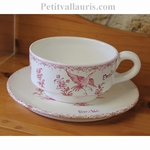 LARGE CUP AND UNDER PLATE OLD PINK TRADITION MOUSTIERS DECOR