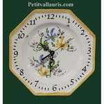 FAIENCE OCTAGONAL WALL CLOCK GREEN,BLUE AND YELLOW FLOWERS