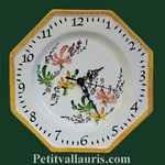 FAIENCE OCTAGONAL WALL CLOCK GREEN,SALMON AND YELLOW FLOWERS