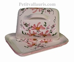 CERAMIC BUTTER BOX WITH PINK FLOWERS DECORATION