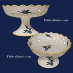 FAIENCE CUP PERFORATE ON FEET WITH DECOR BLUES OLIVES