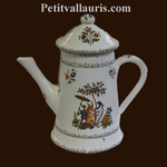 CAFETIERE FAIENCE DECOR TRADITION VIEUX MOUSTIERS