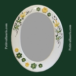 OVAL MIRROR GREEN & YELLOW FLOWERS DECOR+ RELIEF MARGUERITE