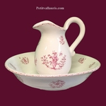 PITCHER AND BOWL FOR TOILET MOUSTIERS PINK TRADITION DECOR