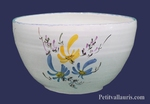 SALAD BOWL LARGE SIZE WITH BLUE AND YELLOW FLOWERS DECOR